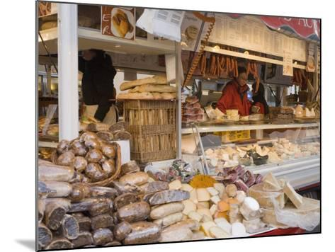 Stall Selling Cheese, Fruit Cake and Sausages at Christmas Market on Maxheinhardtplatz-Richard Nebesky-Mounted Photographic Print