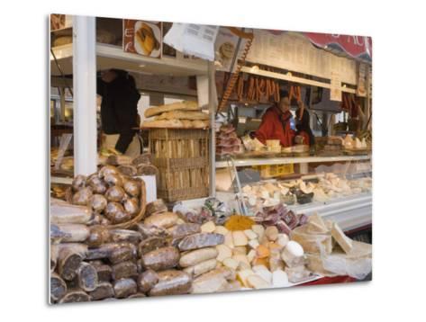 Stall Selling Cheese, Fruit Cake and Sausages at Christmas Market on Maxheinhardtplatz-Richard Nebesky-Metal Print