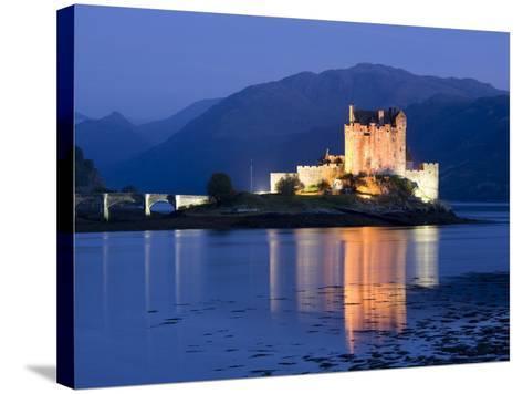 Eilean Donan Castle Floodlit at Night on Loch Duich, Near Kyle of Lochalsh, Highland-Lee Frost-Stretched Canvas Print