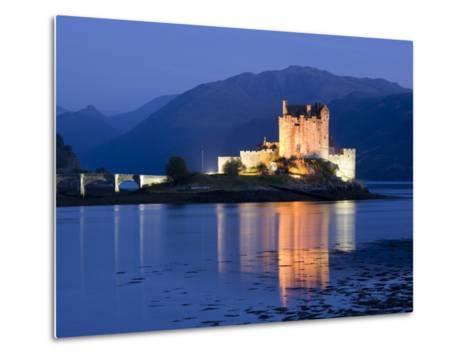 Eilean Donan Castle Floodlit at Night on Loch Duich, Near Kyle of Lochalsh, Highland-Lee Frost-Metal Print
