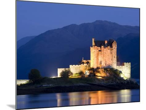 Eilean Donan Castle Floodlit at Night on Loch Duich, Near Kyle of Lochalsh, Highland-Lee Frost-Mounted Photographic Print