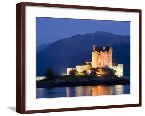 Eilean Donan Castle Floodlit at Night on Loch Duich, Near Kyle of Lochalsh, Highland-Lee Frost-Framed Art Print