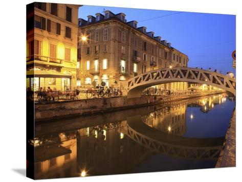 Naviglio Grande at Dusk, Milan, Lombardy, Italy, Europe-Vincenzo Lombardo-Stretched Canvas Print