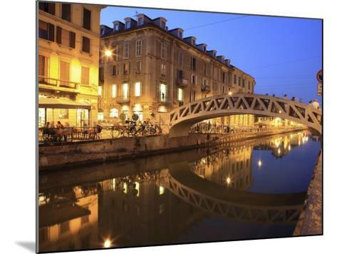Naviglio Grande at Dusk, Milan, Lombardy, Italy, Europe-Vincenzo Lombardo-Mounted Photographic Print