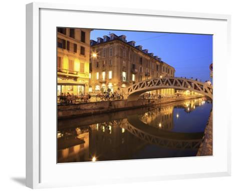 Naviglio Grande at Dusk, Milan, Lombardy, Italy, Europe-Vincenzo Lombardo-Framed Art Print