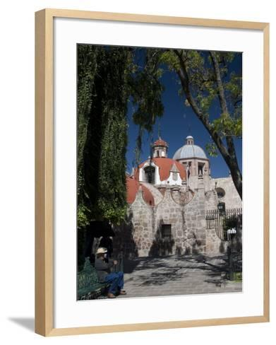 Local Man Resting on a Park Bench with Iglesia Del Carmen in Background, Morelia, Michoacan-Richard Maschmeyer-Framed Art Print