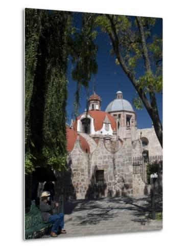 Local Man Resting on a Park Bench with Iglesia Del Carmen in Background, Morelia, Michoacan-Richard Maschmeyer-Metal Print