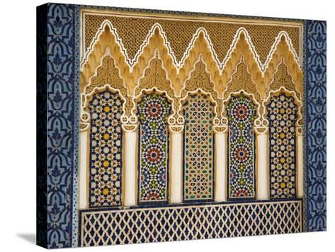 Ornate Architectural Detail Above the Entrance to the Royal Palace, Fez, Morocco, North Africa-John Woodworth-Stretched Canvas Print
