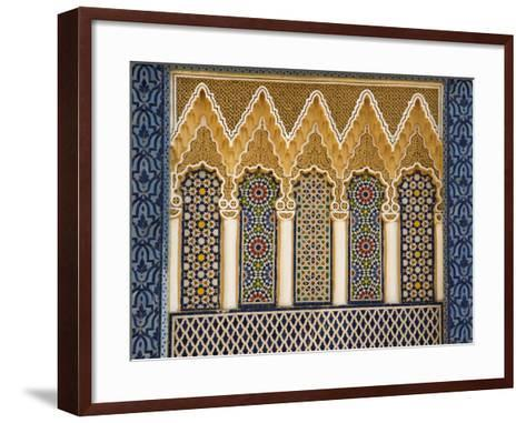 Ornate Architectural Detail Above the Entrance to the Royal Palace, Fez, Morocco, North Africa-John Woodworth-Framed Art Print