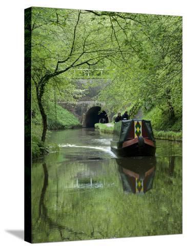 Narrow Boat Cruising the Llangollen Canal, England, United Kingdom, Europe-Richard Maschmeyer-Stretched Canvas Print