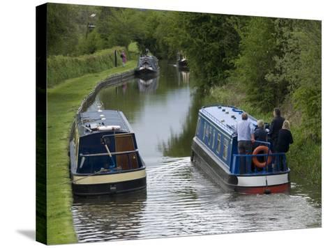 Narrow Boats Cruising the Llangollen Canal, England, United Kingdom, Europe-Richard Maschmeyer-Stretched Canvas Print