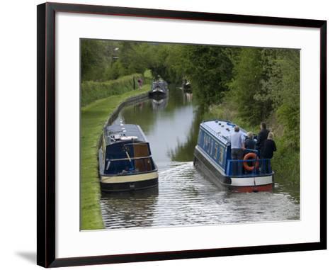Narrow Boats Cruising the Llangollen Canal, England, United Kingdom, Europe-Richard Maschmeyer-Framed Art Print