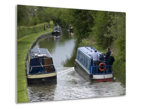 Narrow Boats Cruising the Llangollen Canal, England, United Kingdom, Europe-Richard Maschmeyer-Metal Print
