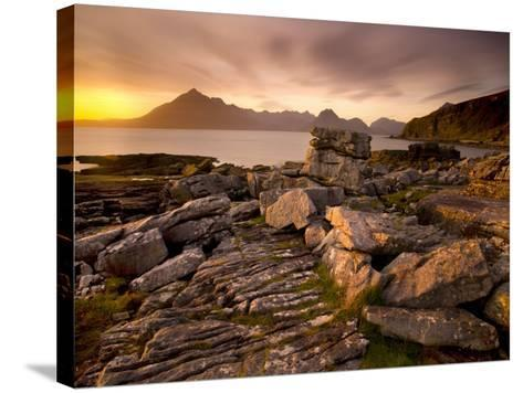 Sunset View over Rocky Foreshore to the Cuillin Hills from Elgol, Isle of Skye, Highland-Lee Frost-Stretched Canvas Print