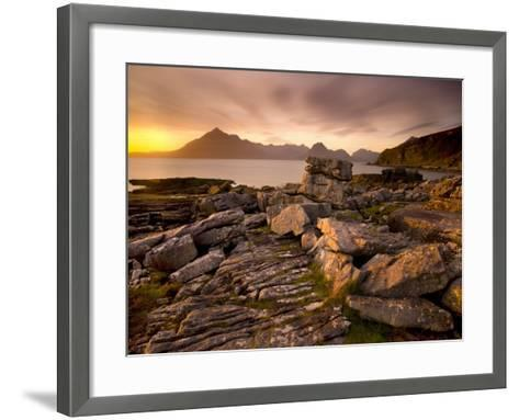 Sunset View over Rocky Foreshore to the Cuillin Hills from Elgol, Isle of Skye, Highland-Lee Frost-Framed Art Print