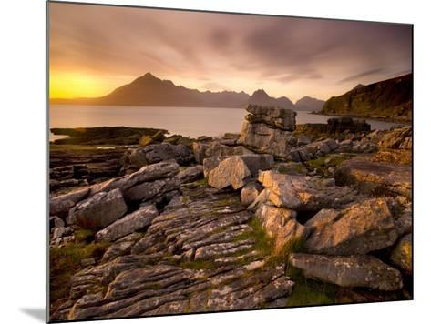 Sunset View over Rocky Foreshore to the Cuillin Hills from Elgol, Isle of Skye, Highland-Lee Frost-Mounted Photographic Print