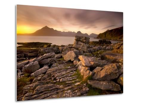 Sunset View over Rocky Foreshore to the Cuillin Hills from Elgol, Isle of Skye, Highland-Lee Frost-Metal Print