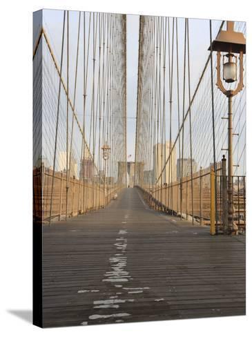 Early Morning on Brooklyn Bridge-Amanda Hall-Stretched Canvas Print