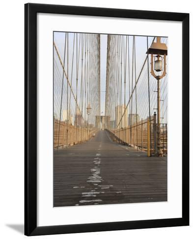 Early Morning on Brooklyn Bridge-Amanda Hall-Framed Art Print