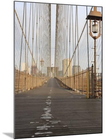 Early Morning on Brooklyn Bridge-Amanda Hall-Mounted Photographic Print