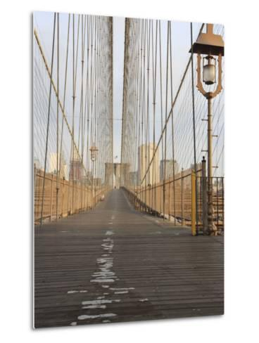 Early Morning on Brooklyn Bridge-Amanda Hall-Metal Print