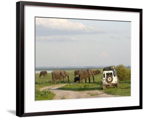 Group of Elephants and Landrover, Chobe National Park, Botswana, Africa-Peter Groenendijk-Framed Art Print