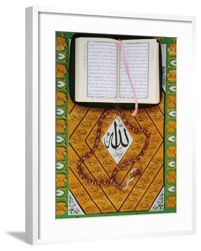 Koran, Rosary and Allah Calligraphy, Paris, France, Europe-Godong-Framed Art Print