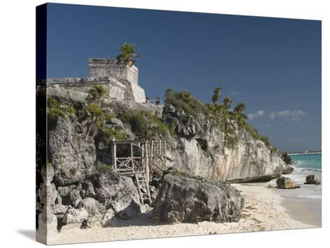 View of Tulum Beach with El Castillo in the Mayan Ruins of Tulum in the Background-Richard Maschmeyer-Stretched Canvas Print
