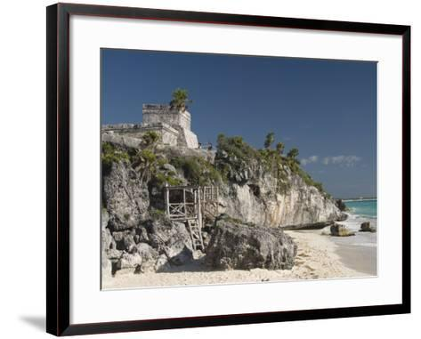 View of Tulum Beach with El Castillo in the Mayan Ruins of Tulum in the Background-Richard Maschmeyer-Framed Art Print