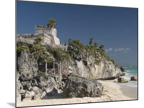 View of Tulum Beach with El Castillo in the Mayan Ruins of Tulum in the Background-Richard Maschmeyer-Mounted Photographic Print