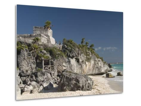 View of Tulum Beach with El Castillo in the Mayan Ruins of Tulum in the Background-Richard Maschmeyer-Metal Print