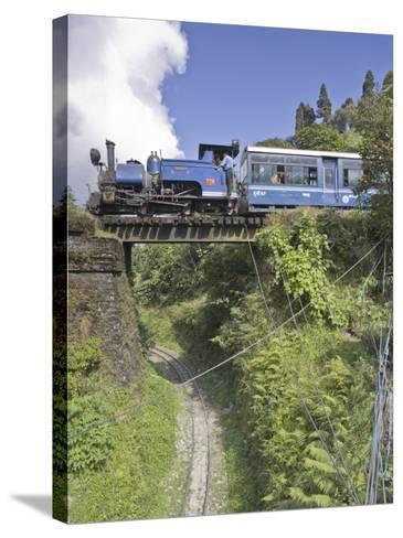 Steam Train of the Darjeeling Himalayan Railway, Batasia Loop, Darjeeling-Jane Sweeney-Stretched Canvas Print