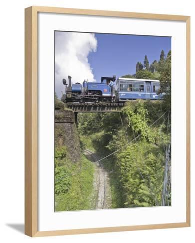 Steam Train of the Darjeeling Himalayan Railway, Batasia Loop, Darjeeling-Jane Sweeney-Framed Art Print