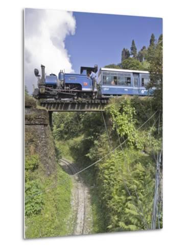 Steam Train of the Darjeeling Himalayan Railway, Batasia Loop, Darjeeling-Jane Sweeney-Metal Print