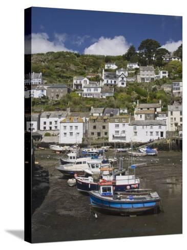 Boats in Polperro Harbour at Low Tide, Cornwall, England, United Kingdom, Europe-Hazel Stuart-Stretched Canvas Print