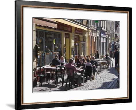 Terrace Tables Outside the Many Cafes and Restaurants on Rue De Lille in Old Quarter of Boulogne-Hazel Stuart-Framed Art Print