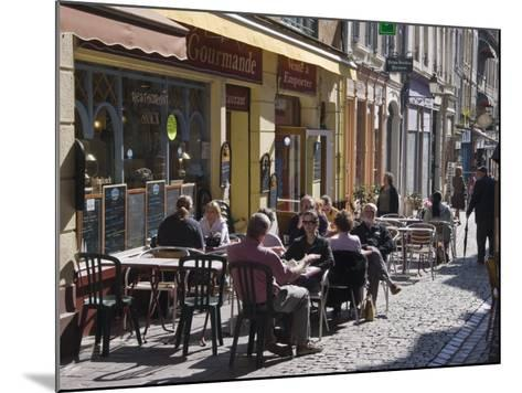 Terrace Tables Outside the Many Cafes and Restaurants on Rue De Lille in Old Quarter of Boulogne-Hazel Stuart-Mounted Photographic Print