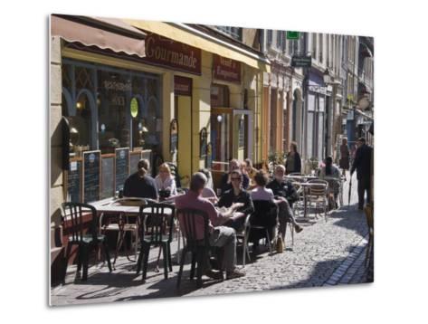 Terrace Tables Outside the Many Cafes and Restaurants on Rue De Lille in Old Quarter of Boulogne-Hazel Stuart-Metal Print