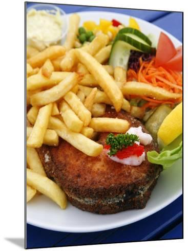 Fried Laks with Chips, Jutland, Denmark, Scandinavia, Europe-Yadid Levy-Mounted Photographic Print