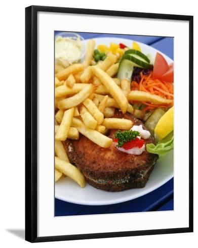 Fried Laks with Chips, Jutland, Denmark, Scandinavia, Europe-Yadid Levy-Framed Art Print