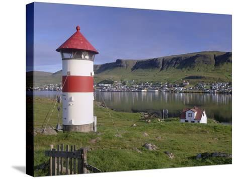 Tvoroyri Village and Lighthouse, Suduroy, Suduroy Island, Faroe Islands, Denmark, Europe-Patrick Dieudonne-Stretched Canvas Print