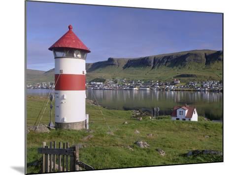 Tvoroyri Village and Lighthouse, Suduroy, Suduroy Island, Faroe Islands, Denmark, Europe-Patrick Dieudonne-Mounted Photographic Print