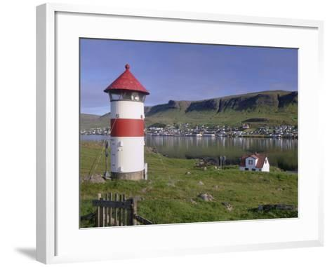 Tvoroyri Village and Lighthouse, Suduroy, Suduroy Island, Faroe Islands, Denmark, Europe-Patrick Dieudonne-Framed Art Print