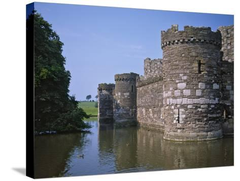 Moat and Outer Curtain Wall at Beaumaris Castle-Nigel Blythe-Stretched Canvas Print