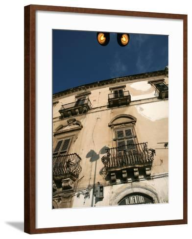 Street Lights Overlooking a Grocer's Store in the Narrow Streets of the Old City of Ortigia-David Pickford-Framed Art Print