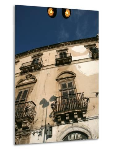 Street Lights Overlooking a Grocer's Store in the Narrow Streets of the Old City of Ortigia-David Pickford-Metal Print