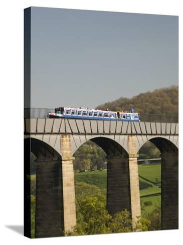 Narrow Boat Crossing the Pontcysyllte Aqueduct, Built by Thomas Telford and William Jessop-Richard Maschmeyer-Stretched Canvas Print