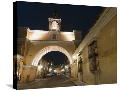 Santa Catalina Arch by Night, Antigua, UNESCO World Heritage Site, Guatemala, Central America-Sergio Pitamitz-Stretched Canvas Print