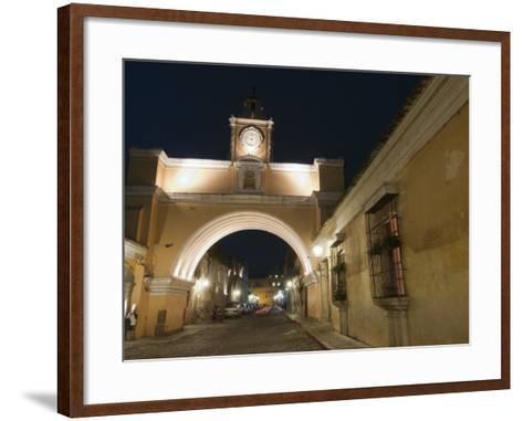 Santa Catalina Arch by Night, Antigua, UNESCO World Heritage Site, Guatemala, Central America-Sergio Pitamitz-Framed Art Print