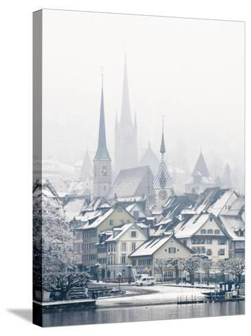 The Town of Zug on a Misty Winter Day, Zug, Switzerland, Europe-John Woodworth-Stretched Canvas Print